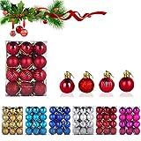 WELLXUNK® Bolas de Navidad, 24 Bolas de Decoración Navideña, Bolas de Adornos Navideños BrillantesNavideño para Colgar en la Pared Adornos