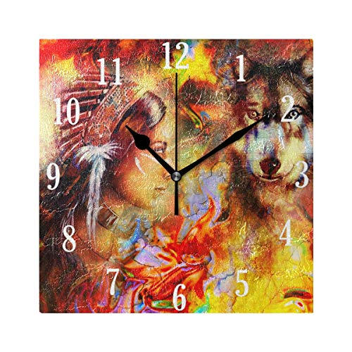 MNSRUU Wanduhr, Indianer, Frauen, Wolf Uhr, Innovative, geräuschlose dekorative Wanduhr für Wohnzimmer, Schlafzimmer, Zuhause, Büro, batteriebetrieben