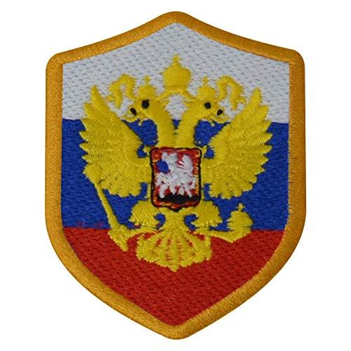 benobler FanShirts4u Aufnäher - Russland - Wappen - 7 x 5,6cm - Bestickt Flagge Patch Badge Fahne Russia (goldene Umrandung)