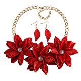 MKmd-s Exquisito Collar de Flores, Conjunto de aretes, Rojo Natural Fresco