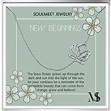 SOULMEET Sterling Silver Sideways Lotus Necklace...