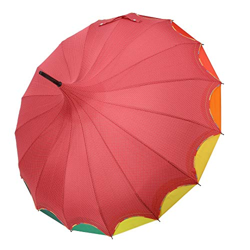 QUEENSHOW Creative Rainbow Pagoda Umbrella, Retro Small Fresh Wave point Sun Umbrella Stick Umbrella UV Protection Umbrella Retro with Hook Handle for Sun & Rain Protection,Red