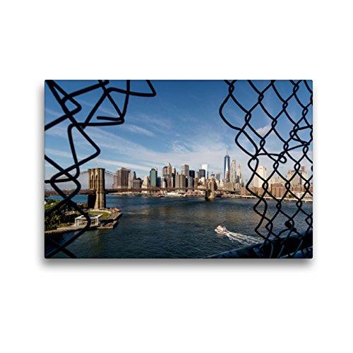 CALVENDO Premium Textil-Leinwand 45 x 30 cm Quer-Format New York Brooklyn Bridge, Leinwanddruck von Kurt Krause