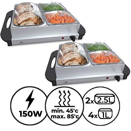 Buffetwärmer - Elektrisch, mit Heizplattenfunktion, Setwahl, Temperaturregler, Edelstahl - Warmhaltegerät, Speisewärmer, Warmhalteplatte, Warmhaltebehälter (2er, 1x2.5L+2x1L)