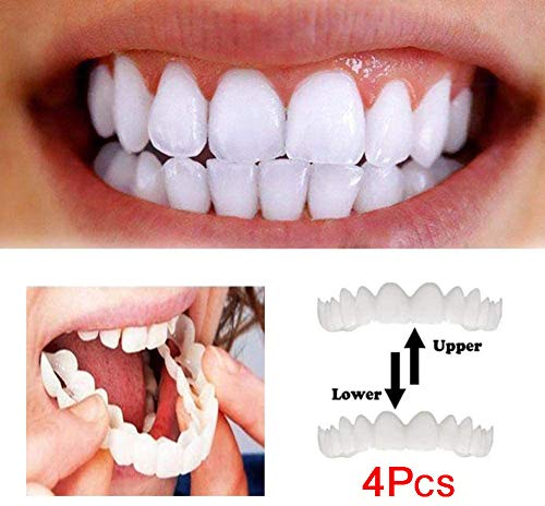 DEWQ Instant Furniere Zahnersatz, die fehlende Zähne Bedecken,Temporäre perfekte Lächeln zähne, Zähne Prothese Filling Kit Kosmetik ober und unterkiefer 4PCS