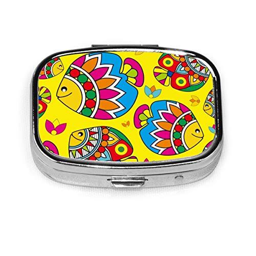 JOJOshop Abstract Expressionisme Patroon Schilderij Pil Box/Pill Case-Vierkante Pil Box/Case-Twee-Compartiment Pil Box/Pill Case Eén maat Kleurrijk vispatroon
