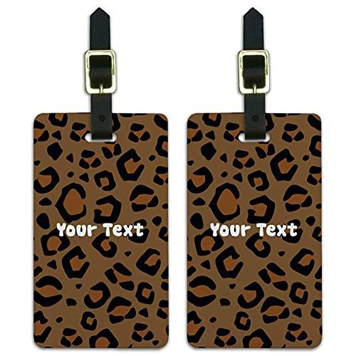 Personalizado 1 línea leopardo Animal Print equipaje etiquetas tarjetas de identificación conjunto de 2