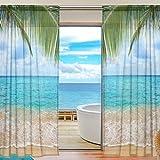 Retro Tüll Meerjungfrau Gardine Meer Strand Palm Sky Tree Leaf Fenster Vorhang Print Semi Sheer 55 x 84 Zoll 2 Panels für Home Schlafzimmer Wohnzimmer Dekor Vorhänge