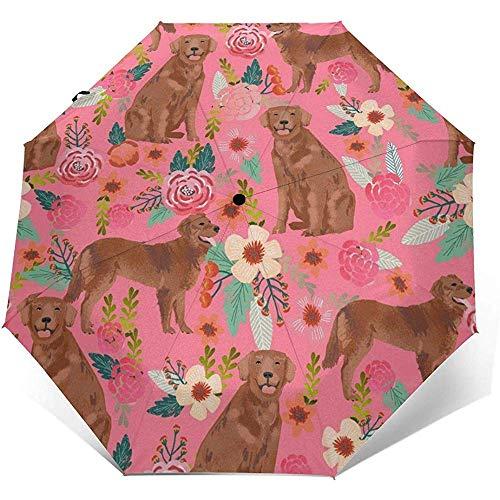 Roter golden Retriever-Hundereiseregenschirm-Sonnenschirm-Leichtgewichtler winddichter Sonnenschutzschirm-Selbstöffnender und schließender Knopf