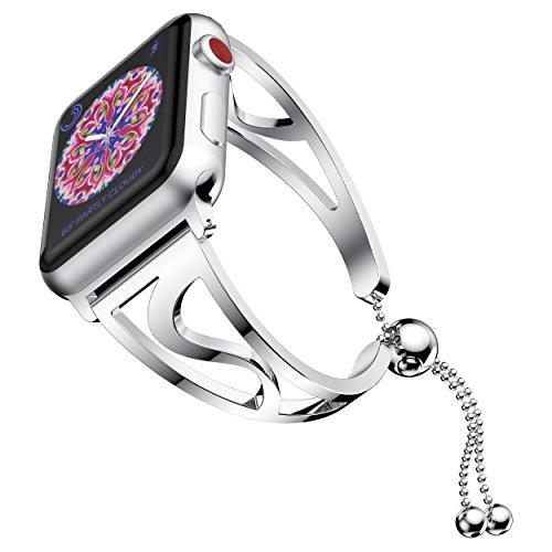 NotoCity Correa de Reloj Compatible with Apple Watch 40 mm / 44 mm en Acero Inoxidable para la Pulsera de Mujer de la Serie 4 3 2 1