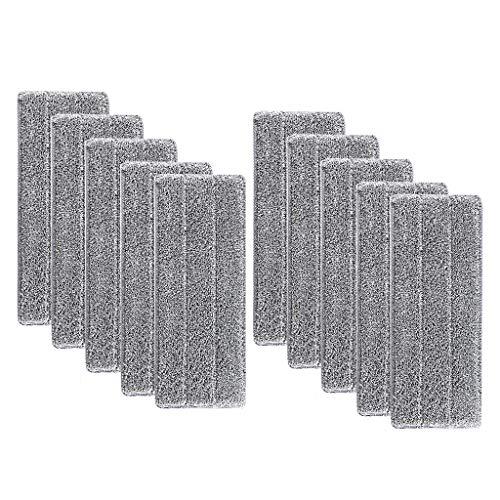 FBGood Super Absorbant Recharges de Tête de Vadrouille - Tampon de Nettoyage de Tête de Balai de Ménage Lavable en Microfibre de Vadrouille de Nettoyage Lavable en Microfibre (10pcs)