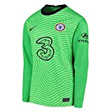 Nike 2020-2021 Chelsea Home Goalkeeper Football Soccer T-Shirt Jersey (Green) - Kids