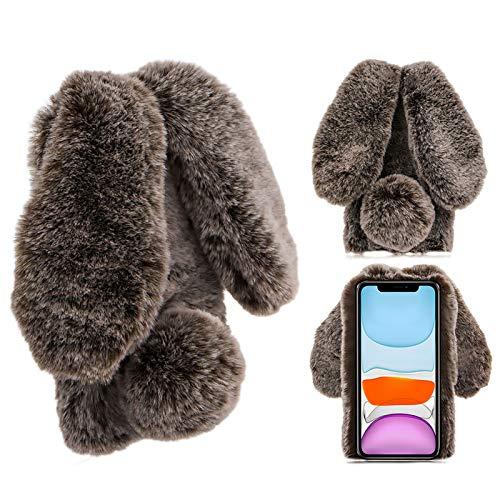 Hase Pelz Hülle für LG Stylo 6,Kristall Schutzhülle für LG Stylo 6,Moiky Luxus Niedlich Diamant 3D Braun Häschenohren Ohr Pelz Netter Warme Winter Plüsch Rabbit Handyhülle mit Soft TPU