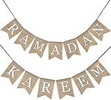 ASEDRF Ramdan Kareem Flaggen-Fahnen-Eid Feiern Hanging Banner Burlap Bunting Dekoration für Ramadan Kareem Supplies,2pcs