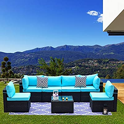 Kullavik Patio Furniture Set 7 Pieces Outdoor Sectional Rattan Sofa Set Black Manual Wicker Patio Conversation Set with 6 Blue Seat Cushions and 1 Tempered Glass Tea Table