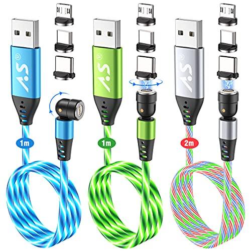 マグネット 充電ケーブル 3in1 A.S 5ピン USB C 磁気 充電ケーブル 流れるLEDランプ 360°+180°回転 マグネット ケーブル QC3.0 急速 充電器 マグネット アドバンスト充電Type c/Micro usb マグネット同時給電
