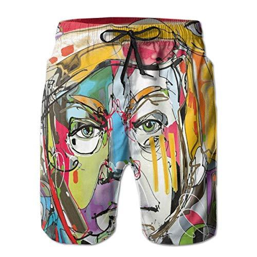potente para casa Shorts de playa para hombre Akingstore, Hombre lobo surrealista de ojos eléctricos …