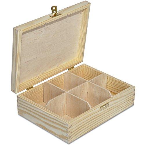 Creative Deco Tee-Box aus Natürliches Kiefernholz | 21 x 16 x 7 cm (+/- 0,5 cm) | mit 6 Fächer und Deckel | Tee-Organizer | Perfekte Tee-Kiste für Decoupage, Dekoration Lagerung der Teebeutel