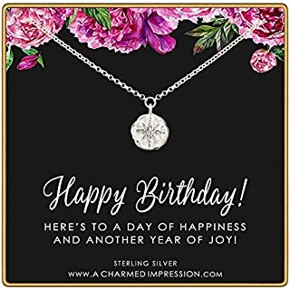 Happy Birthday Gift for Women • 925 Sterling Silver • CZ Diamond Starburst Necklace • A Day of Happiness and Another Year of Joy • Celebration Jewelry