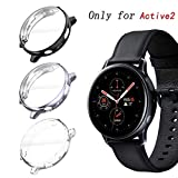 KPYJA for Samsung Galaxy Watch Active 2 40mm Screen Protector, All-Around TPU Anti-Scratch Flexible Case Soft Protective Bumper Cover for Galaxy Watch Active 2 Smartwatch (Black/Gray/Clear, 40mm)