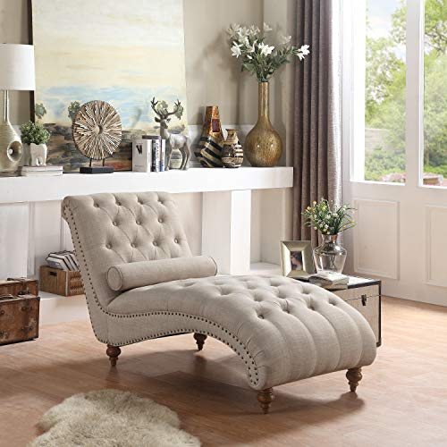Rosevera TeofilaTufted Chaise Lounge Chair, Beige