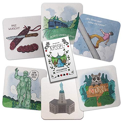 """Stadtliebe Kassel Geschenk Set """"Freundschaft"""" - 6 Bierdeckel-Postkarten und Spielkarten Set mit Kassel Motiven"""