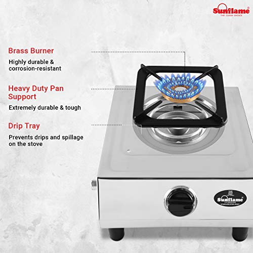 Sunflame Single Burner Dlx Stainless Steel 1 Burner Gas Stove (Manual Ignition, Silver)