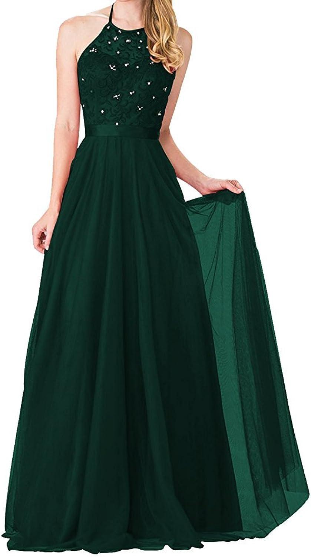 Tutu.Vivi Women's Appliques Halter Prom Party Gowns Floor Length High Neck Evening Dresses