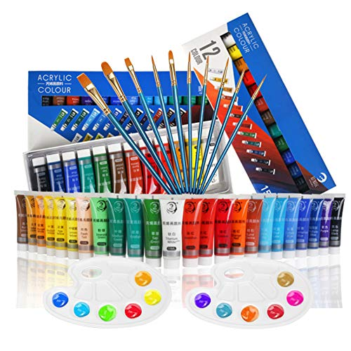 Acrylic Paint Set, 24 Colors + 10 Brushes + 2 Palettes, 15ml/Tube, for Paper, Canvas, Wood, Ceramic, Fabric and Crafts. Non Toxic Rich Pigments Lasting, for Beginners, Students, Professionals Artist