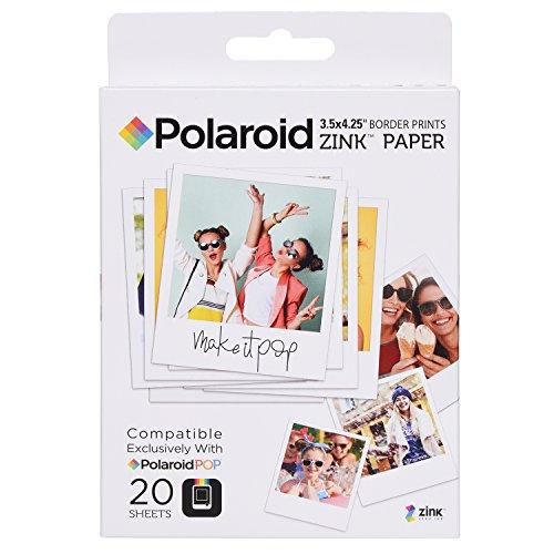 Polaroid Carta fotografica 3,5 x 4,25 pollici ZINK con bordo (20 Fogli) - Compatibile con la fotocamera istantanea Polaroid POP