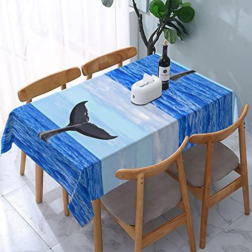 Impresión de cola de ballena a prueba de derrames e impermeable, lavable a máquina, mantel para uso al aire libre, fiestas | Acción de Gracias/Navidad, 137 x 183