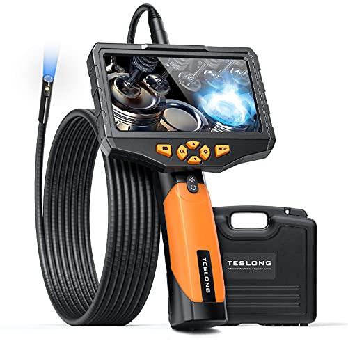 Teslong Dual-Linsen-Endoskopkamera, 5.5 MM 1080P-Endoskop mit 5-Zoll-HD-Bildschirm, IP67 wasserdichte Inspektionskamera mit 6 LED-Licht, 5000 mAh Lithium-Akku, 32GB TF Karte, Werkzeugkasten(9.8FT)