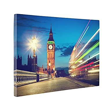 Niwo Art (TM) - 14 London Cityscape Picture On Canvas - Giclee Wall Art for Home Decor, Gallery Wrapped, Stretched and Framed Ready to Hang (16 x12 x3/4 )