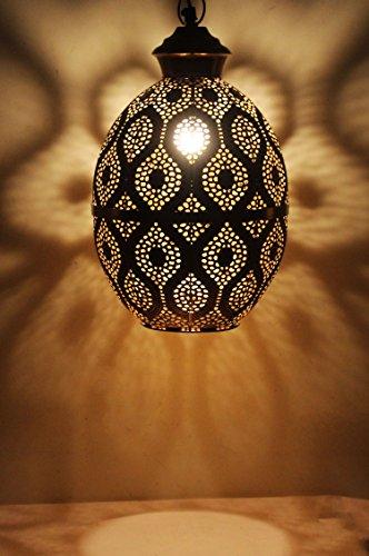 MAADES Orientalische Lampe Pendelleuchte Gold Afzal 39cm E27 Lampenfassung | Marokkanische Design Hängeleuchte Leuchte | Orient Lampen für Wohnzimmer, Küche oder Hängend über den Esstisch
