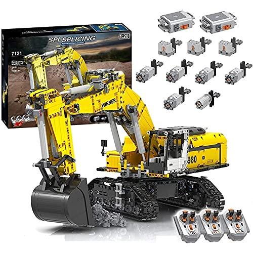 Technic excavadora modelo de bloques de construcción, 2071 piezas 2.4G RC excavadora RC excavadora de orugas con control remoto con 6 motores, compatible con Lego Technic A,68 * 25 * 27cm