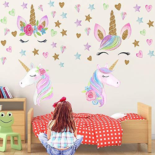 LABOTA 3 Blätter Einhorn Wandtattoos Dekor, 127PCS Einhorn Wandsticker Wandaufkleber Dekoration für Mädchen Frauen Kinder Schlafzimmer Kindergarten(Farbe A)