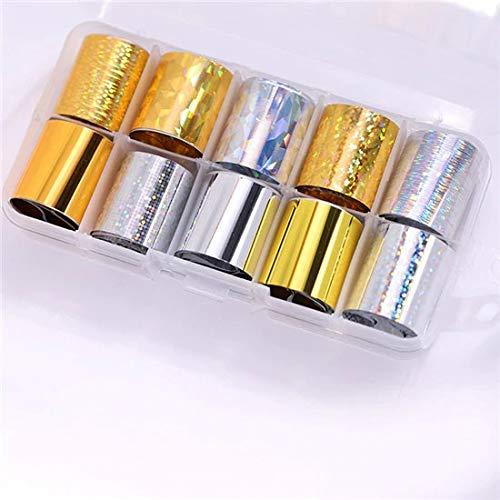 HBNNBV Nails Uñas Postizas 10 PCS Conjunto de lámina de uñas 2.5 * 100 cm DIY Nail Art Decorations Transparente AB Color Nail Art Transfer Etiqueta de uñas Elegante (Color : Set 8)