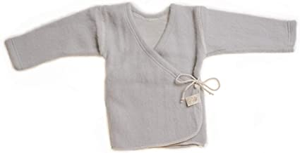LANACARE Organic Wool Baby Sweater, Soft Grey, Size 86 (1-2 yr)