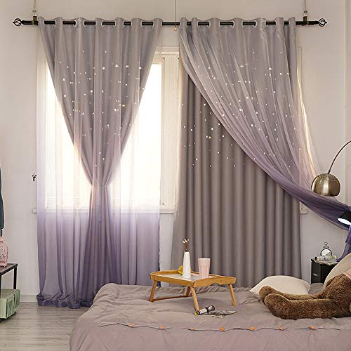 Abreeze Kids Star Blackout Curtains Star Curtains for Girls Boys Bedroom Gradient Tulle Overlay Curtain Double Layer Sparkle Star Cut Out Curtains (1 Panel,59 x 63 inch,Grey)
