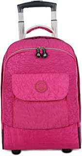 TYUIO Wheeled Backpack Large Rolling Waterproof School Laptop Book Bag Outdoor Daypack Travel Carry On Luggage Suitcase (Color : Pink)