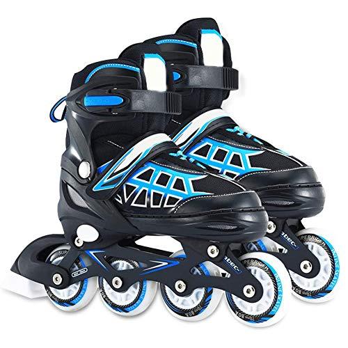 HealHeatersⓇ Verstellbar Inliner Für Kinder Mit Allrad Leucht Inline Skates Rollschuhe Für Damen/Herren,Blau,L (38~42 EU)