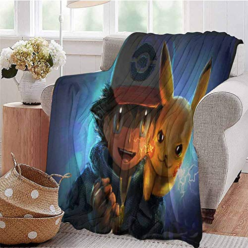 HouseDecor Throw Blankets Detective Ash and Pikachu Artwork Nm for Couch Bed Living Room 50X30 Inch