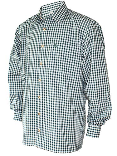 S-6XL 37-54cm Trachtenhemd Karo-Hemd Trachten-Pfoadl Karohemd grün kariert Jagd, Größe:4XL = 49/50