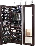 Greenco Door Jewelry Organizer Armoire with Large Led Lights, Lockable-Espresso Mirror