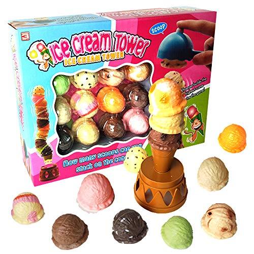 Mymiyou helado apilado Torre de Equilibrio juego de los alimentos Juegos de imaginación conjunto de juguete para niños