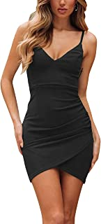PinUp Angel Women's V-Neck Sheath Casual Party Bodycon Cami Spaghetti Strap Wrap Dress