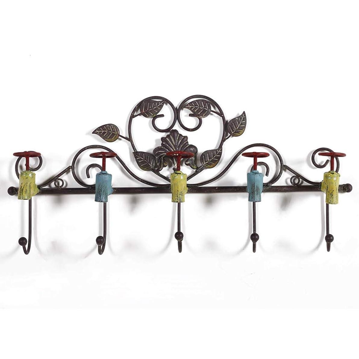 ワイド静脈シェルターハンガーラック フックレトロクリエイティブカフェコートハンギングキーポーチ壁掛けハンガータオル掛けラック鉄 (Color : Brown, Size : 57cm*7cm*28cm)