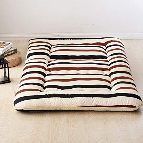 MSM Japanisch Bodenmatratze Shikibuton,Gedruckt Boden Sleeping Pad,100% Baumwolle Futon Roll Up Tragbar Camping Matratze Streifen 180x200cm/71x79inch