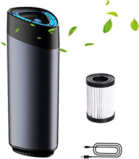 Car Air Purifier,Air Freshener with Smart Touch LED Light 3 Models Adjustable Premium Aluminum Alloy Hepa Filter Ionizer Scented Pieces ,Remove Dust, Cigarette Smoke, Bad Odors (Air Purifier)
