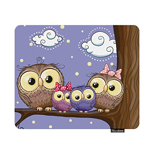 Nicokee Gaming Mouse Pad Four Owls Mother Father Son and Daughter is Sitting Non-Slip Rubber Mouse Pad for Computers, Laptop, Office, Home Rectangle Personalized Mousepad 9.5 Inch x 7.9 Inch